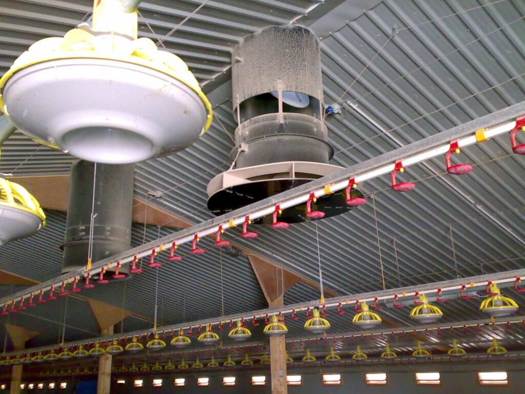 Climamix met recirculatie geplaatst in pluimveestal
