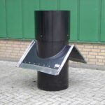 Ventilation chimney, ridge type, flat roofsheet with lead